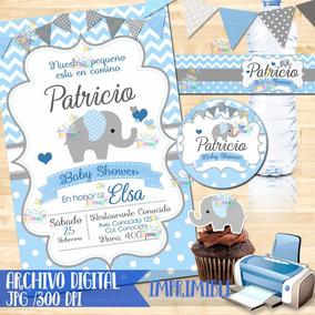 Invitacion Para Baby Shower De Elefante Recuerdos Cotillon Y