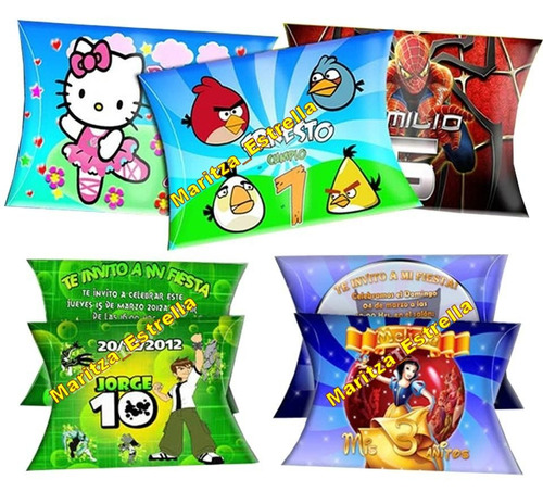 kit imprimible invitacion cajitas almohaditas tarjetas cumpl