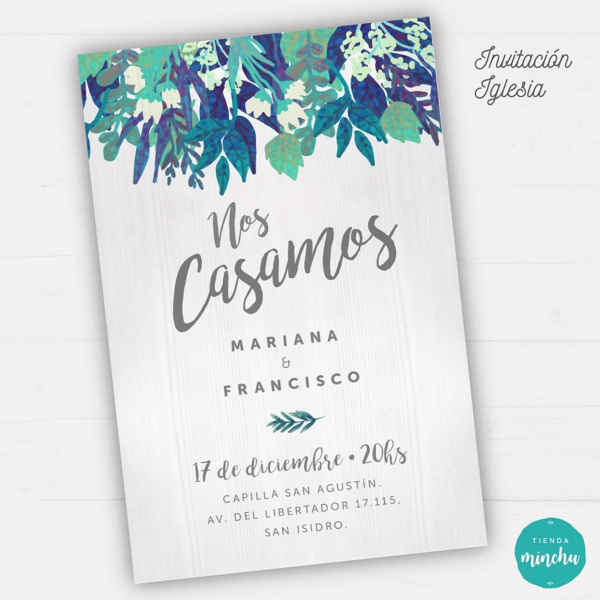 Kit Imprimible Invitación Casamiento Boda - Flores Azules - $ 259,00 ...