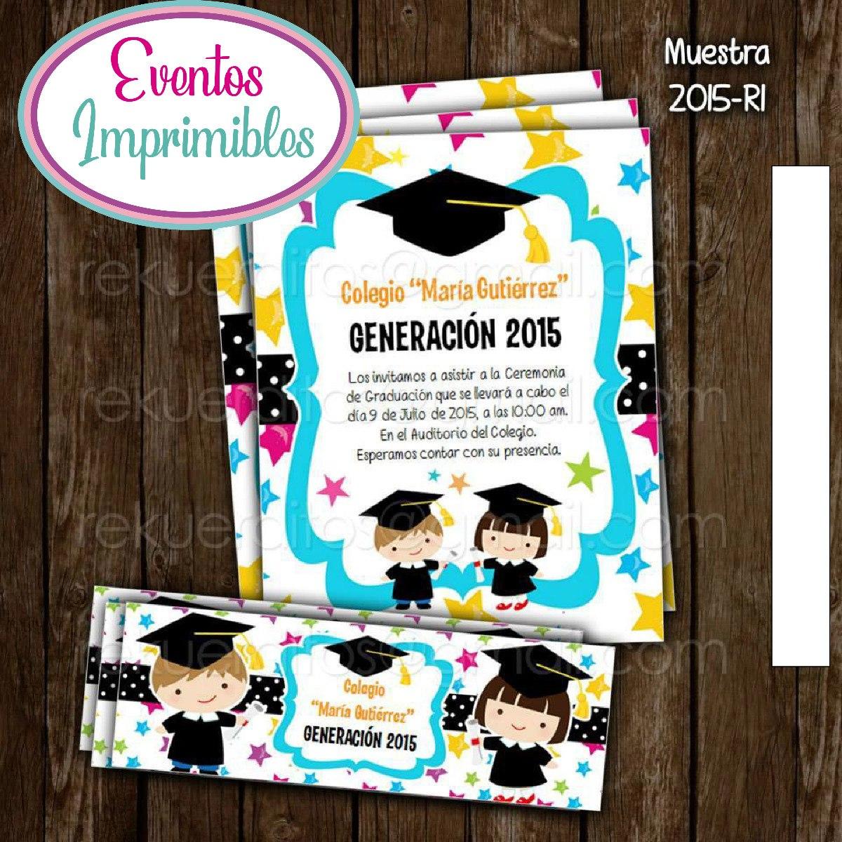 Kit Imprimible Invitación Graduación Niños - $ 25.00 en Mercado Libre