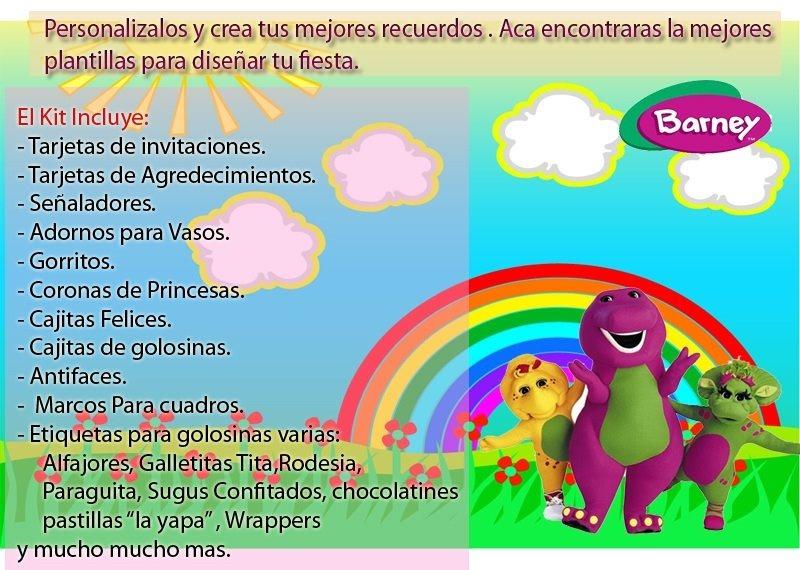 Kit Imprimible Invitaciones Barney - $ 49.00 en Mercado Libre