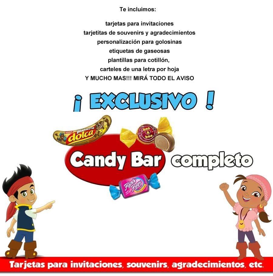 Kit Imprimible Invitaciones Jake Y Los Piratas Candy