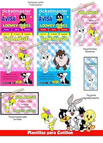 Cobertor Looney Tunes Invitaciones Y Tarjetas Cumpleaños