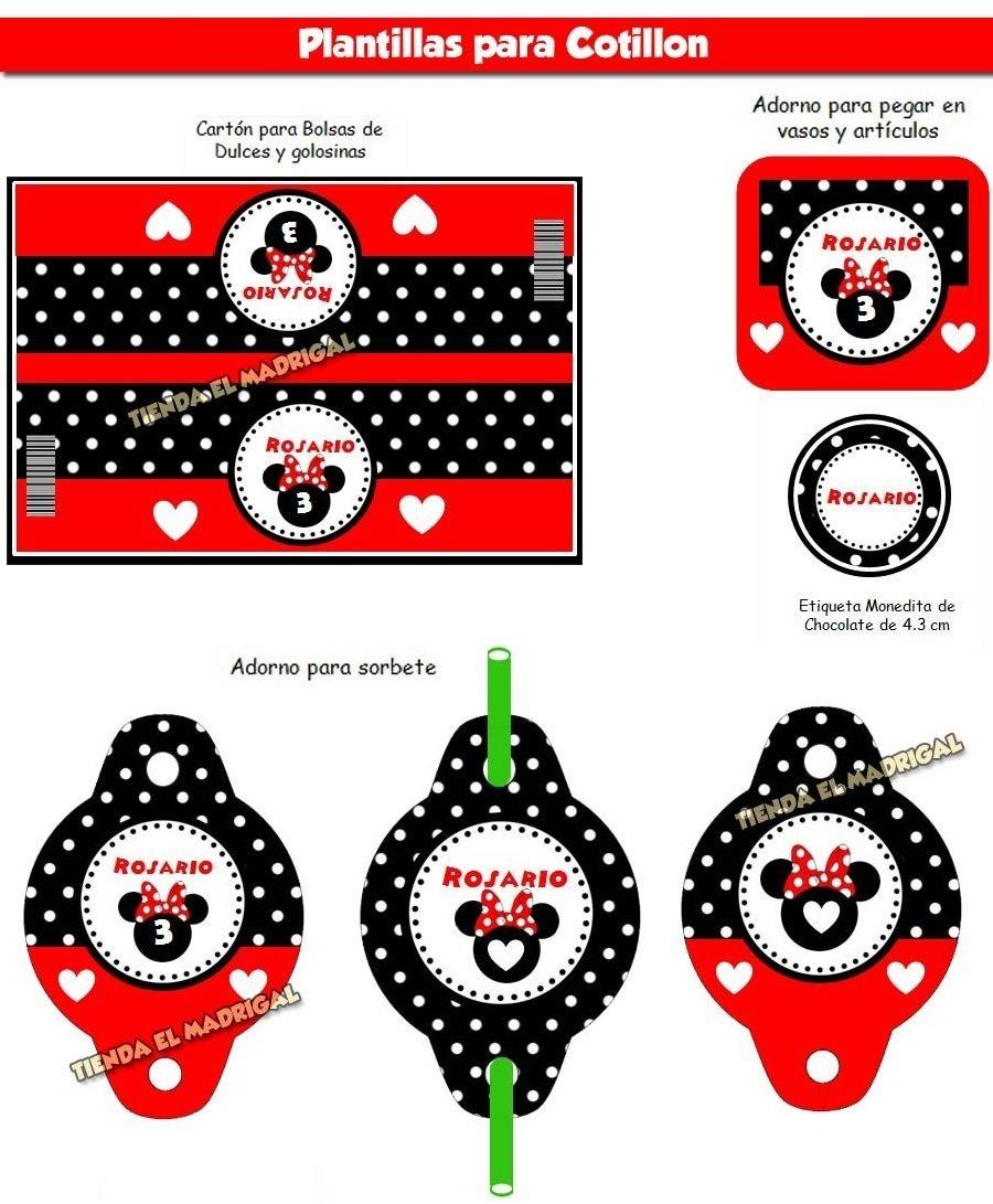 Kit Imprimible Invitaciones Minnie Roja