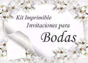 Kit Imprimible Invitaciones Para Bodas Tarjetas Recuerditos