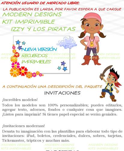 kit imprimible izzy y los piratas adornos invitaciones y+