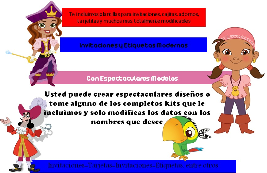 Kit Imprimible Jake Y Los Piratas,invitacion, Fiesta,tarjeta - Bs ...