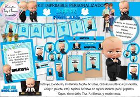 Kit Imprimible Jefe En Pañales Editable Bebe Decoración N76