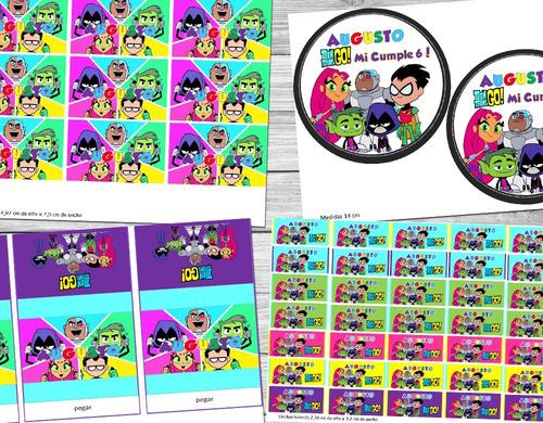 kit imprimible jovenes titanes personalizado candy bar