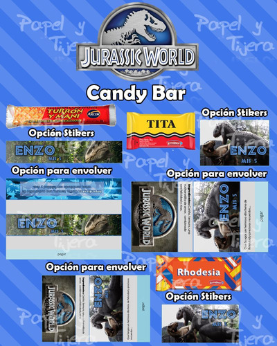 kit imprimible jurassic word candy bar invitaciones cotillon