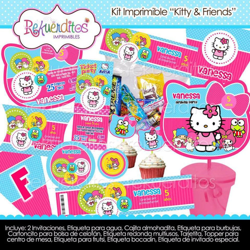 kit imprimible kitty & friends tarjetas invitaciones 5