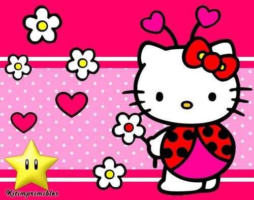 kit imprimible kitty mariquita diseñá tarjetas, cumples #2