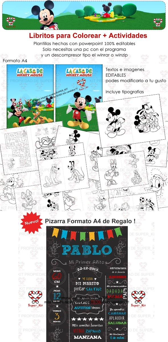 Kit Imprimible La Casa De Mickey Mouse - 2019 Candybar + 3x1 - $ 54 ...