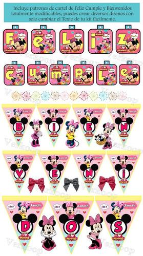 kit imprimible la casa de minnie mouse rosa fiesta completa