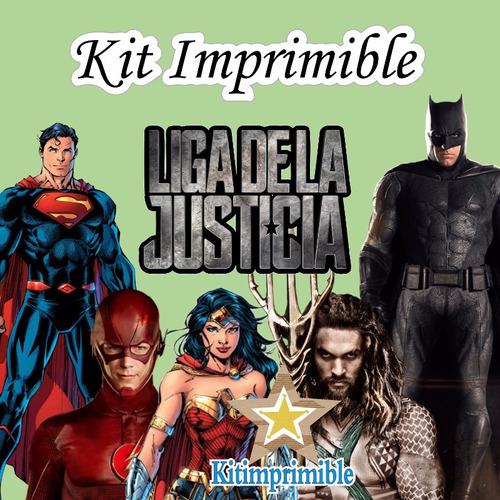 kit imprimible la liga de la justicia + candy bar *nuevo
