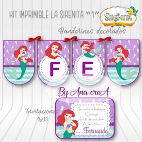 Kit Imprimible La Sirenita 1 Textos Editables Completo