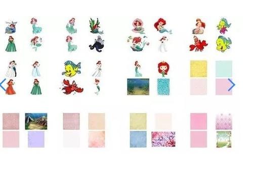 kit imprimible la sirenita ariel +candybar +regalo +(2x1)