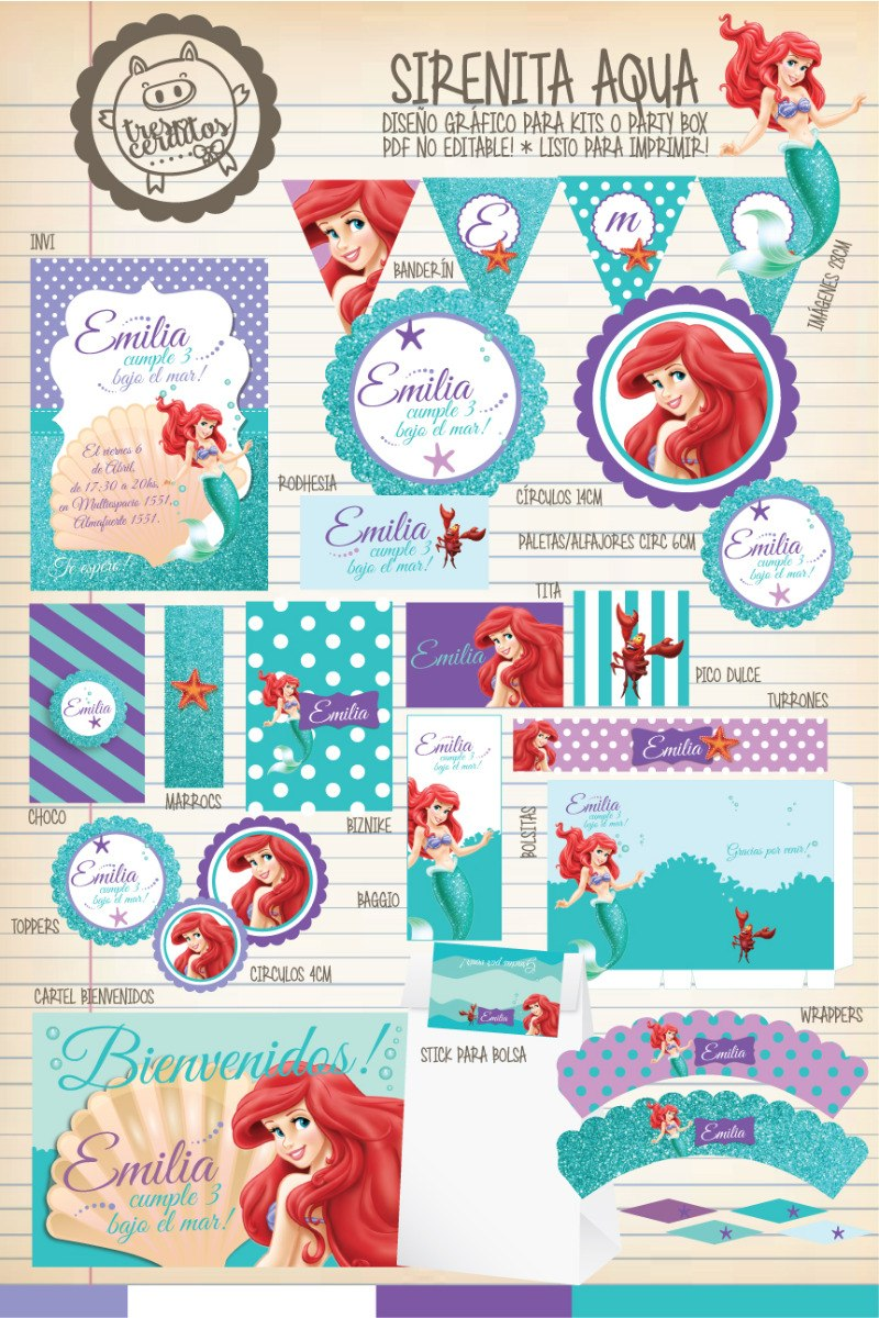 Kit Imprimible La Sirenita Disney Candy Bar Deco ! - $ 198,00 en ...