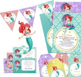 Kit Imprimible La Sirenita Princesa Ariel Vintage Editable