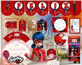 Kit Imprimible Ladybug Editable Invitaciones Banderines