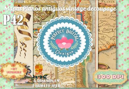 kit imprimible laminas mapas planos vintage antiguos viejos