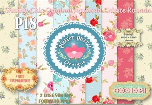 kit imprimible laminas shabby chic celeste rosado scrapbook