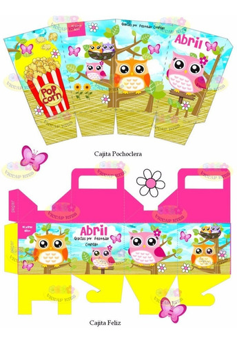 kit imprimible lechuzas buhos candy bar invitaciones cajitas