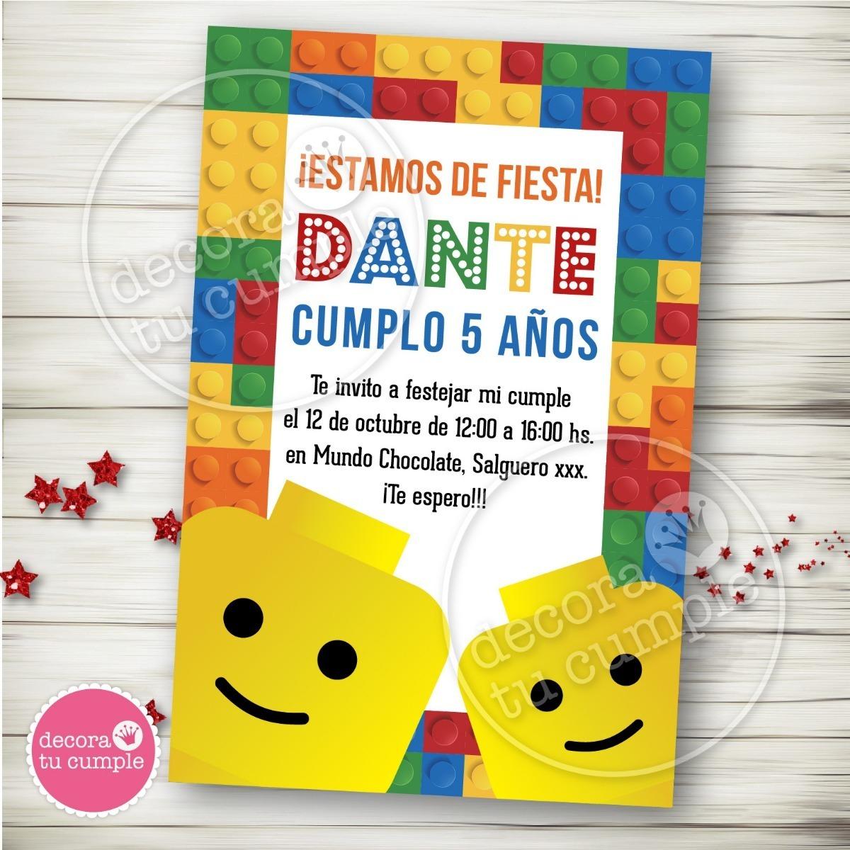 Kit Imprimible Lego Invitaciones Candybar Cumpleaños