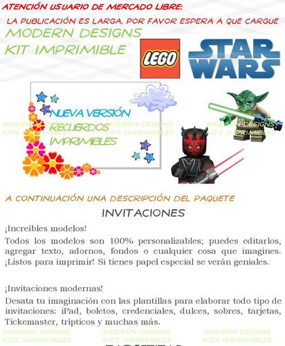 kit imprimible lego star wars adornos invitaciones y+