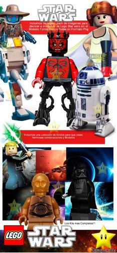 kit imprimible lego star wars diseñá tarjetas, cumples y mas