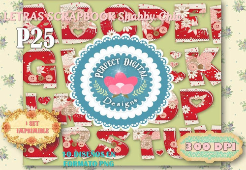 kit imprimible letras scrapbook shabby chic p/ banderines