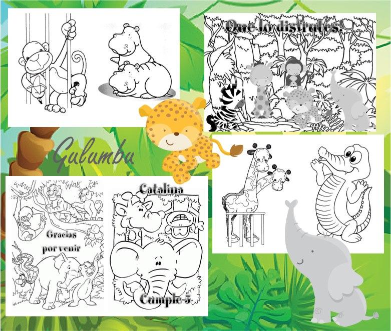 Kit Imprimible Librito Pintar Animales De La Selva Jungla - $ 65,00 ...