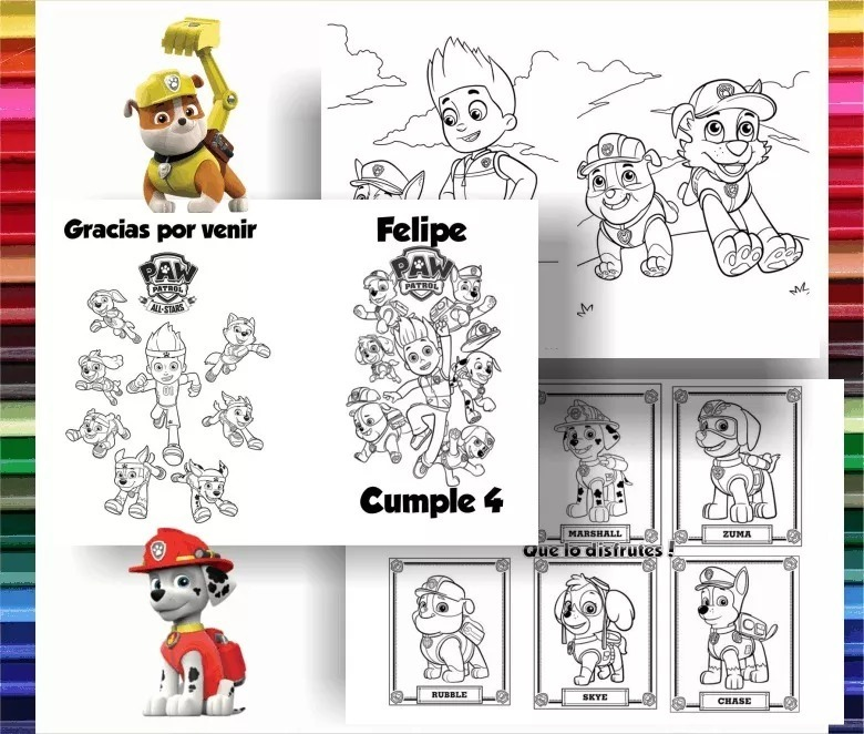 Kit Imprimible Libritos Colorear Paw Patrol Patrulla Canina