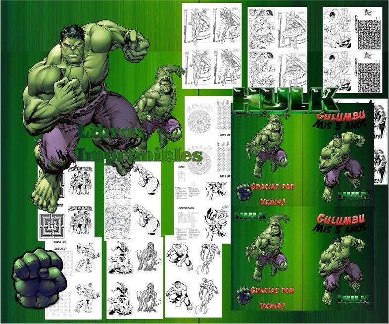 Kit Imprimible Libritos Increible Hulk De Actividades Pintar - $ 65 ...