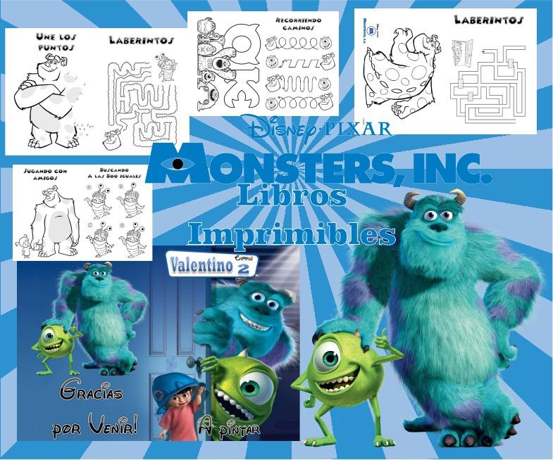 Kit Imprimible Libritos Monster Inc De Actividades Pintar - $ 65,00 ...