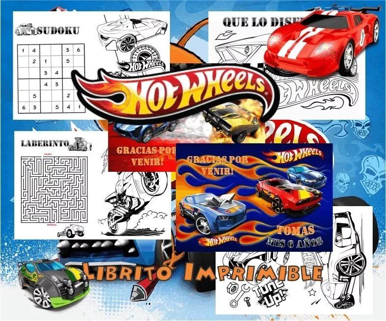Kit Imprimible Libritos Para Colorear Actividades Hot Wheels