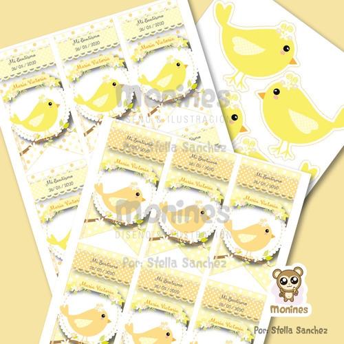 kit imprimible lindos pajaritos candy bar ¡texto editable!