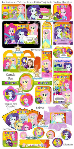 kit imprimible little pony equestria girls candy bar fiesta