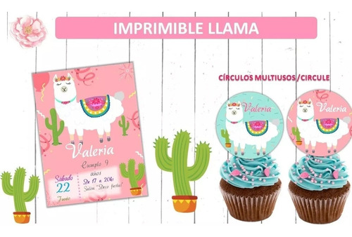 kit imprimible llama alpaca cumpleaños