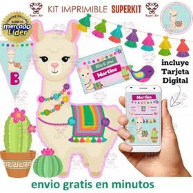 Kit Imprimible Llamas Y Cactus Totalmente Editable
