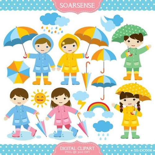 kit imprimible lluvia colores clipart b151
