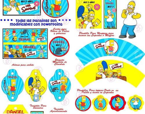 kit imprimible los simpson cotillón cajitas banderines+ 2x1