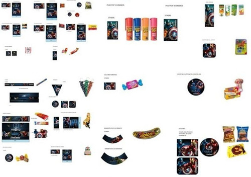 kit imprimible los vengadores full fiesta 3x1