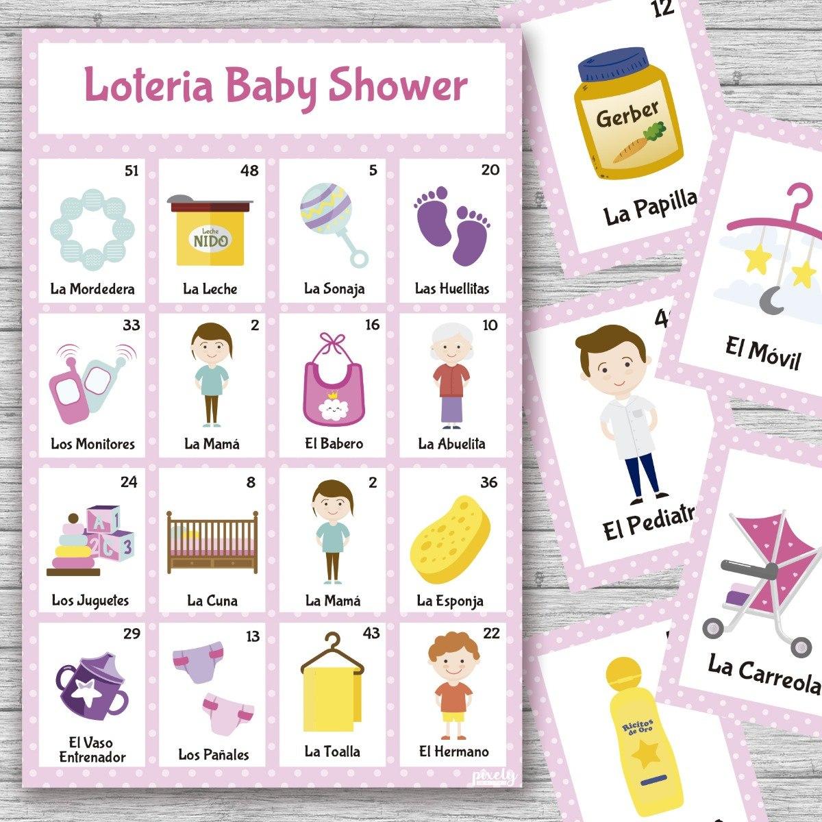 Kit Imprimible Loteria Baby Shower Nina Con 40 Tablas Oferta