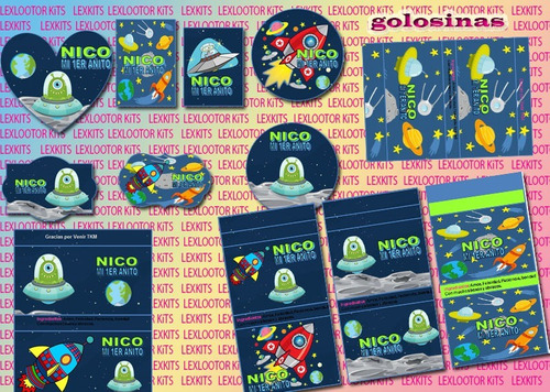 kit imprimible marcianitos extraterrestres tarjetas (2x1)