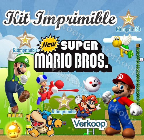 kit imprimible mario bross + candy bar invitaciones marcos