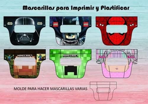 kit imprimible mascara infantil con visor +regalo!!