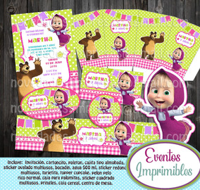 Kit Imprimible Masha Y El Oso Candy Bar Invitaciones