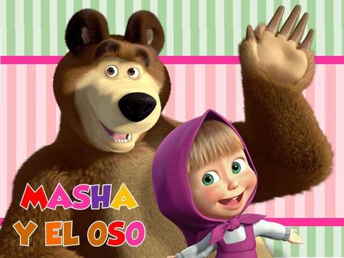 kit imprimible masha y el oso diseña tarjetas y mas #1