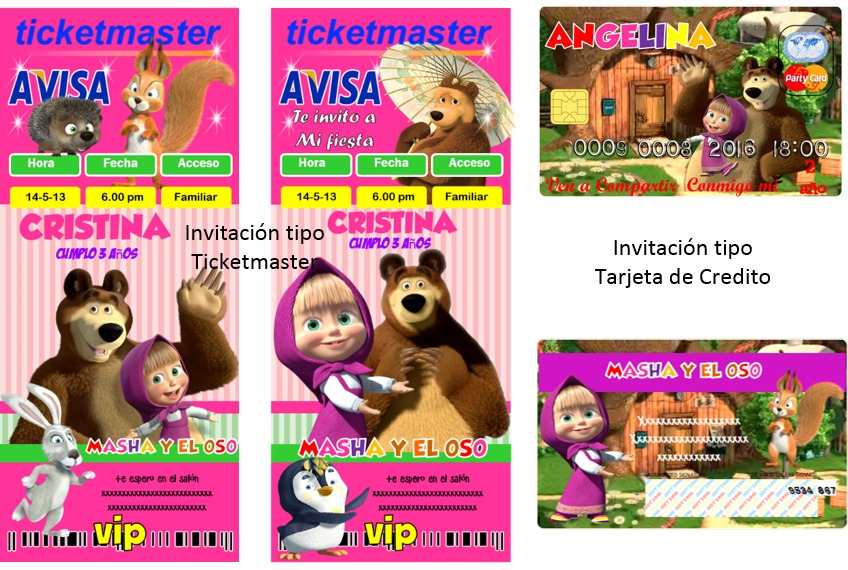 Kit Imprimible Masha Y El Oso Fiesta Invitación Tarjetas